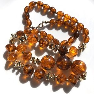 """Vintage Bead Necklace 24 1/2"""" Amber Hue Beaded"""